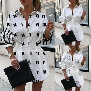Donne Vestito a camicia collo quadrato maniche lunghe abiti autunno Ufficio lavoro occasionale pulsante del vestito delle signore breve mini Streetwear