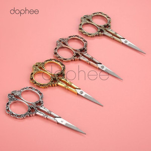 dophee 1pcs Vintage Scissors Stainless Steel Tailor's Scissors Thread Trimmer Embroidery Sewing Tools Retro Craft Shears