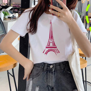 Paris Eiffel Tower Painting Summer T shirt Women Funny Vintage Vogue TShirt Women White O Neck T Shirt Femme Tumblr Streetwear