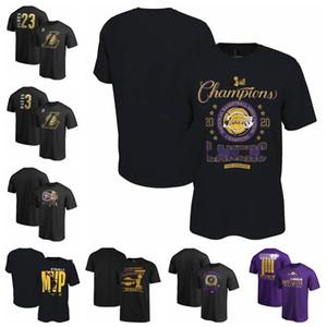Los AngelesLakersUomo Donna della Gioventù 2020 finali di Champions Spogliatoio Pallacanestro T-shirt nera