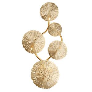 ArtPad Copper Lustre Gold Lotus Lam Lámpara de pared Vintage Retro Cama de la Cama Sala de estar Arte Decoración Inicio Iluminación Muro Aplique G4 Bulb