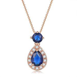 Double Fair Classic Party Pendant Necklaces For Women Blue Zircon Rose Gold Color Luxury Choker Fashion Jewelry DZN005