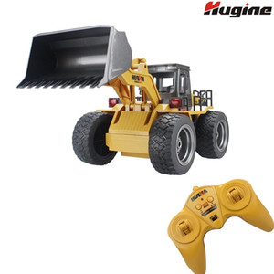 RC Truck Alloy Shovel Loader 6CH 4WD Wheel Loader Metal Remote Control Bulldozer Construction Vehicles For Kids Hobby Toys Gifts Y200413