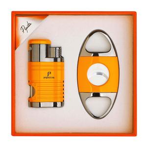 Pipita Прикуриватель и Cutter Set ветрозащитный бутан многоразового 4 Jet Flame Зажигалки с перфорирования сигареты зажигалка