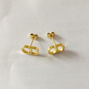 Designer de luxo jóias mulheres brincos letra d brincos de garanhão de aço inoxidável prata cor-de-rosa ouro 18k ouro elagant alfabeto stud moda nova