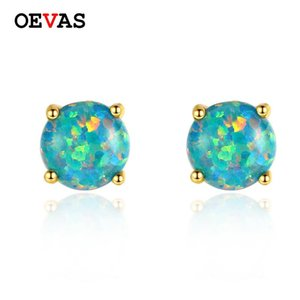 Stud OEVAS Solid 925 Sterling Silver Colorful Opal Earrings For Women Elegant Wedding Engagement Party Jewelry Gifts Wholesale