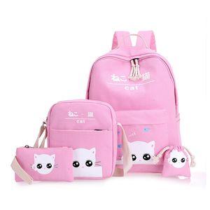 Diomo 4PCS / Set Ordinateur portable Sacs à dos pour Girls Boys Adolescents Femelle Bagpack Sac A Dos Femme Cute Cat Canvas Satchel Kids LJ201029