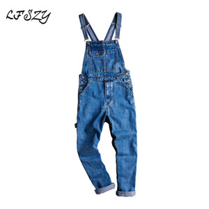 Casual Blue Jeans soltas Jeans, macacões, Sling Macacões do Jeans Men Lfszy Homens