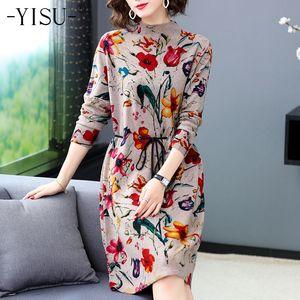 Yisu мода водолазка осень зима теплый свитер вязаный длинный джемпер шнурки прямые платья женщины