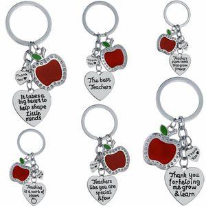 Appreciation Teachers Keychain Apple Love Heart Charm Keyring Thank You Teacher Key Chain Ring Holder Jewelry Teacher's Day Gift