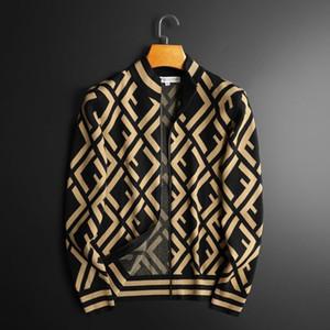 Cardigan de los hombres suéter tendencia guapo stand collar cremallera cardigan chaqueta juventud delgado casual ff jacquard suéter suéter hombres 201023