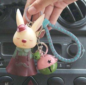 Mr. Rabbit Miss key chain cute cartoon doll car key chain creative bell pendant plastic doll