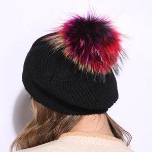 Kadın Yün Siyah Örgü Bere Şapkalar Renkli Gerçek Kürk Pompom Yeni Casual Kış Kürk Topu Bayanlar Kızlar Için Beaneis Şapkalar Gorros