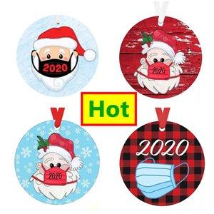 Recién llegados 2020 Navidad Santa Navidad Adornos Árbol Colgante Colgante Redondo Signo de madera Top Decoración navideña