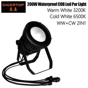 Gigertop TP-P108 Su geçirmez 200W COB Led Par Işık Soğuk Beyaz 6500k sıcak beyaz 3200K Renk Mekan LED Par Can Sahne Işık Çift Konut