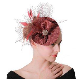 Fascinatoren Hut Frauen Blume Mesh-Bänder Federn Fedoras Hut Stirnband oder ein Clip Cocktail Tee Party Headwear für Mädchen LM028 H Jlljwx