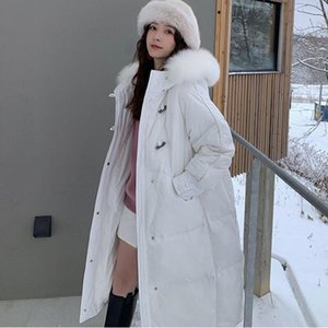 Women Winter Real Raccoon Fur Long Down Jacket Vintage Female 90% White Duck Down Coat Loose Lady Thick Warm Overcoat