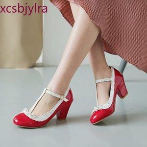 Spring Automne Single Chaussures Simple Couleur Assortiment Tête ronde Talons High Teaux Femmes Chaussures en cuir de brevet rouge peu profond de la taille 48