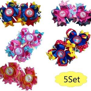 Бесплатная доставка 5SET 3.5''Pigtail Hair Bow набор символов зажима волос мультфильм наклон волос Y200710