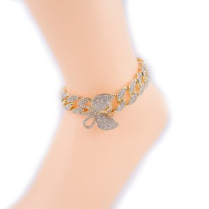 butterfly anklets iced out charm pendant hip hop miami cuban link chain feet leg girls' jewelry rose gold silver color rap punkQ0115