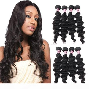Nami Hair Brazilian Virgin Hair Wefts Loose Deep Wave 4 Bundles 100% Human Hair Extensions Natural Color