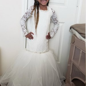 Mermaid Flower girl Dress With Lace Toddler Floor-Length Long Bridesmaid Gowns for Girl