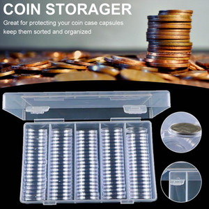 100pcs lot 25mm Plastic Coin Holder Capsules Container with Storage Organiz Box for Coin Collection Display Case
