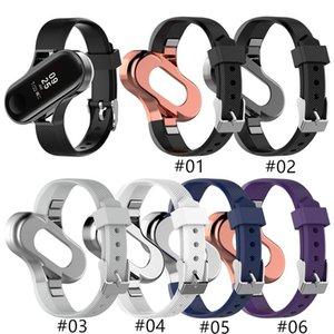 New Silicone Strap Metal Frame Case for XIAOMI MI Band 3 4 Fashion Design bracelet Miband 4 Strap