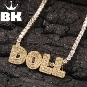 HIP HOP Custom Small Baguette Letter Back Clasp Pendant Necklace Combination Words Name With CZTennis Necklaces Zirconia Jewelry 200928