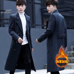 Men's Windbreaker Over the Knee Autumn and Winter Self-cultivation Korean Trend Student's Middle Long Woolen Coat