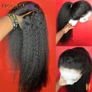 Kinky Straight Wig 13*4 Lace Front simulation Human Hair Wigs PrePlucked Yaki Lace Wig 13x4 Lace Closure synthetic Wig For Black Women