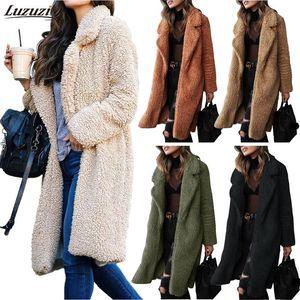 Lanzamientos de lana de las mujeres Luzuzi Lady Four Top Abrigo 2021 otoño e invierno solapa de manga larga mujer camisa de peluche largo color sólido CE3434