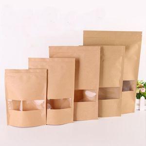 50 adet / grup Kraft Kağıt Torba Pencere Zip Kilidi Boş Kurutulmuş Gıda Meyve Çay Hediye Paketi Kendinden Sızdırmazlık Fermuar Stand Up Çanta HH9-3727