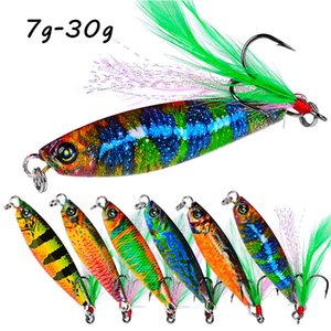 6 Color Mixed 7g-30g Jigs Fishing Hooks Fishhooks 8#-4# Hook Metal Baits & Lures Pesca Fishing Tackle F37-K002
