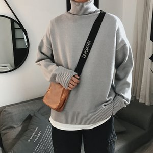 Men Sweaters Turtleneck Simple All-match Loose Harajuku Chic Korean Mens Clothing Knitting High Quality Casual Fashion Sweaters 1113