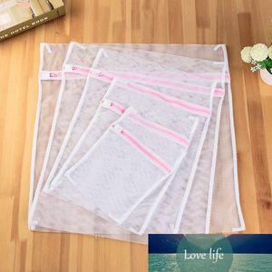 5 pcs / conjunto branco malha grossa malha sacos para lavar máquinas lingerie lavanderia wash sacos modernos + PE poliéster saco de lavanderia