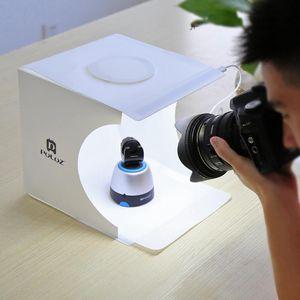PULUZ ظلال الخلفية أسفل 23CM ضوء صورة 2 لوحة ضوء مربع إضاءة الاستوديو خيمة كيت المحمولة + 22.5 التصوير USB LED