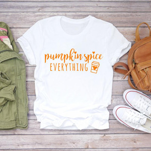 Women Pumpkin Spice Love Season Fall Thanksgiving Halloween Print Lady Womens Graphic T T shirts Top Shirt Female Tee Shirt