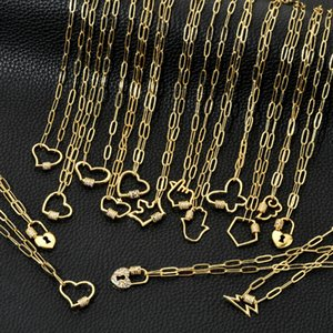 Gold Plated Copper Cuban Chain Clavicle Chain Hip Hop Punk Style Love Geometric Zircon Pendant Necklace for Woman Girls Gift