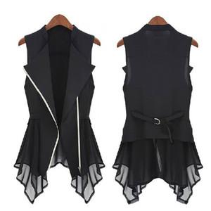 Free shipping new chiffon Jacket spring Autumn models Women Slim Long jacket Europe sleeveless Coats & JacketS.M.L,XL 201013
