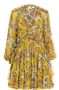 Popolare 2020 autunno autunno stile vacanze retrò stampa con scollo a V del bordo auricolare ARDE IRREGULAR Dress in due pezzi