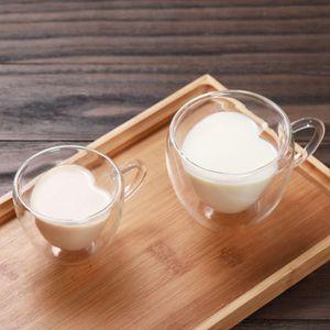 Corazón amor forma doble pared vidrio taza resistente kungfu taza taza leche limón jugo taza taza de bebida amante tazas de café taza regalo
