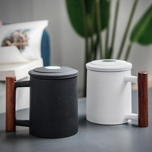 NEW Black Ceramic Retro Tea Mugs Office Water Cup Filter Tea Cup Coffee Cup Birthday Gift with Cover Cups Wooden Handle tea mug