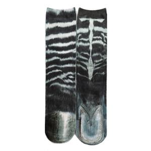 Animal Crew Socks Unisex3D Print Kitty Tiger Zebra Leopard Novelty Stockings X7YA