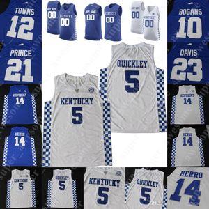 Kentucky Wildcats Basketbol Jersey EJ Montgomery Tyrese Maxey Kahlil Whitney Nick Richards Immanuel Quickley Towns Davis Bogans Prens Knox