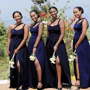 Navy Blue African Plus Size A Line Bridesmaid Dresses One Shoulder High Side Split Wedding Guest Dress Maid of Honor Gowns Vestidos V20