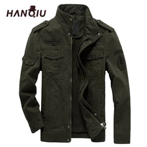 HANQIU Marka M-6XL Bombacı Ceket Erkekler Askeri Giyim Bahar Sonbahar Erkek Ceket Katı Gevşek Ordu Askeri Ceket 201116
