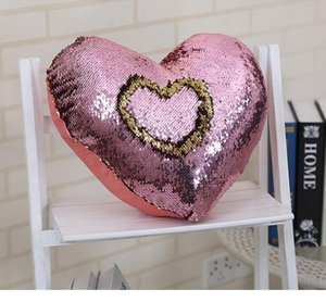 Fashion Cushion Cover Mermaid Sequin shiny Pillow Magical Discoloration pillow Cover Home Car Decorative Heart Pillow Case 6688