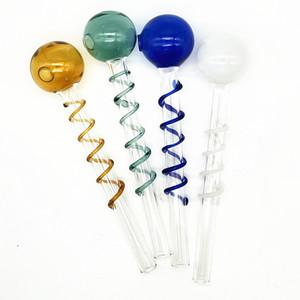 Qbsomk VIP mini tubo di fumo con bobina colorata Bruciatore a olio piccolo in magazzino Breve vetro colorato vetro