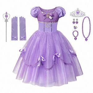 MUABABY Делюкс платье для девочек лета платья принцессы бальных детей 4 слоя Длина пола Рапунцель Косплей hQEJ #